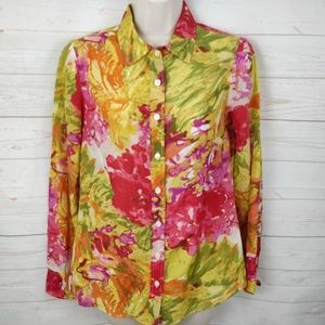 J Crew Floral Print Button Up Silk Blend XS